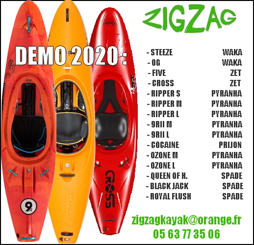 les kayaks TESTS et DEMO Riviéres 2020